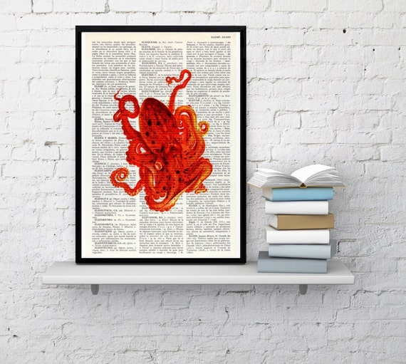 Octopus art print on Book page,Orange Octopus, wall art decor seaside art, Octopus wall decor, Octopus Poster print, Beach house art BPSL04
