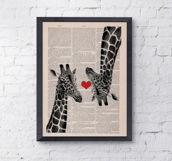 Spring Sale Giclee print Giraffes in love  Red heart  Vintage Book sheet wall decor poster print giraffe LOVE wall hanging BPAN012