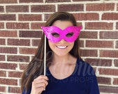 Hot Pink Masquerade Mask, Photo Booth Props, Pink Mardi Gras Mask, Mardi Gras Theme Props, Hot Pink Mask, Halloween Party Props
