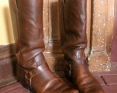 Mens Vintage 1970s Brown Leather Wrangler Cowboy Boots Size 9 D REDUCED