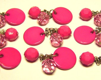 9pcs Pink Disk 2-Hole Silvertone Connectors with Dangly Faceted Beads