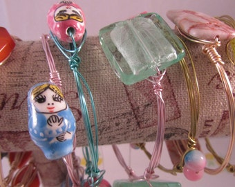 Bangle Bracelets with Beads -Your Choice of Beads and Wire!