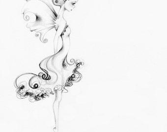 Fairy Drawing Fine Art Giclee Print of My original Fairy Art Print Black and White Minimalist Fairy Wall Art Whimsical Art by Joanna Haber