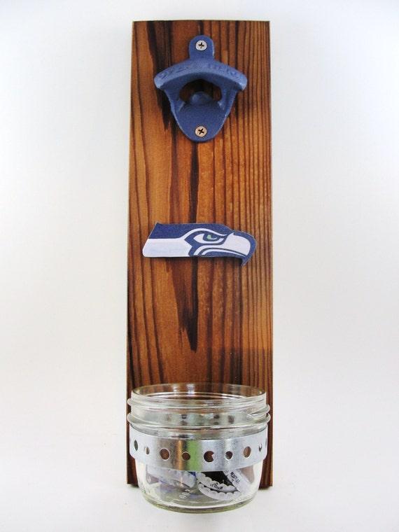 D capsuleur mural mont seattle seahawks cedar receveur de for Decapsuleur mural biere