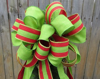 Burlap Christmas Tree Topper - Red and Green Burlap and Linen Christmas Topper, Burlap Topper, Fun Bright Green and Red Burlap Tree Bow