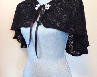 Black Bridal Capelet, Black Lace Bridal, Black Shrug, Black Bridal Cover Up, Bridesmaid, Black Lace Cape, Black Lace Capelet DARK ANGEL