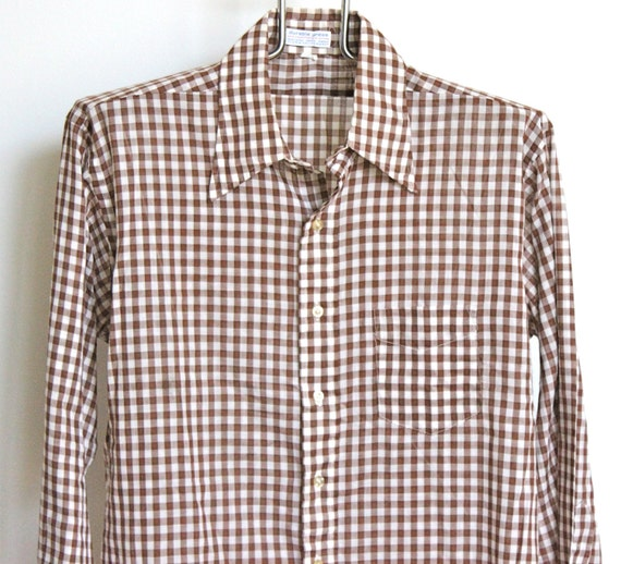 vintage brown white gingham plaid shirt mens by