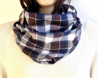 CHRISTMAS, HOLIDAY GIFT, Gifts For Her, Gifts For Women Brown Plaid Scarf Infinity Scarf Winter Scarf Plaid Scarves Women Men Scarf