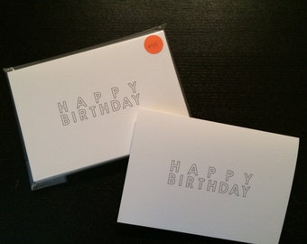simple minimal birthday cards - set of 6 includes white kraft envelopes, color & personalize yourself!