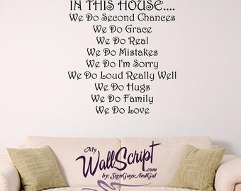 In This House We Do...., Custom home rule Wall decal, personalizsed home decal
