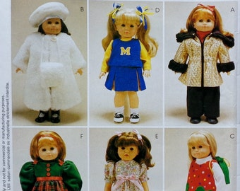 """McCall's Crafts P 410 18"""" DOLL CLOTHES Clothing Pattern - Fits American Girl Our Generation Carpatina Gotz Dolls"""