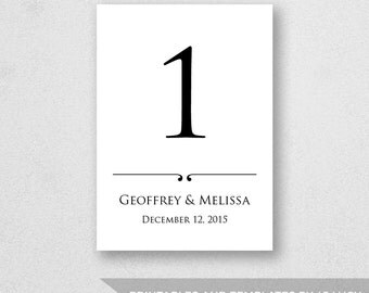 Table Number Template Printable - INSTANT DOWNLOAD - For Word and Pages - Mac and PC - 5 x 7 inches