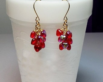 Red  Heart Cluster Drop Earrings, Mothers Day Jewelry Gift, Very Limited, Mom Sister Grandmother Girlfriend Jewelry Gift, Gold Earrings