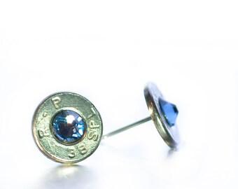 Bullet Stud Earrings- Nickel and Denim Blue