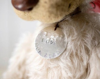 Personalized Ornament - Hand Stamped Custom Ornament - Family Christmas Holiday - Toy tag - pet tag - dog tag - pet id tag - sterling silver