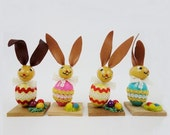 4 Big Vintage Handpainted Easter Bunnies Ornaments with Leather Ears Erzgebirge Folk Art German Table Decor