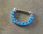 14 Gauge (1.6mm) Blue Opal Septum Ring Clicker Bull Ring Nose Piercing