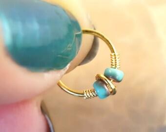 18 or 20 Gauge Turquoise and Gold Hoop Cartilage Hoop Boho Tragus Helix Piercing