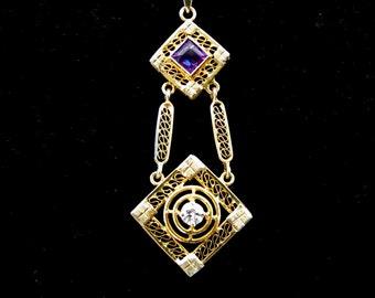 Retro Transitional Cut Diamond Amethyst 14k Yellow Gold Pendant Lariat Necklace