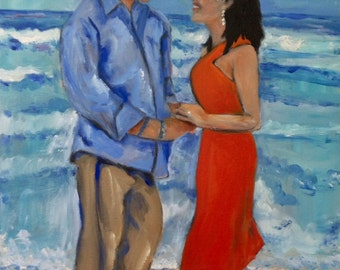 The Engagement Original Oil Painting of Beautiful Couple Getting Engaged on the Beach Painting handsome brother by Marlene Kurland   EX/Sold
