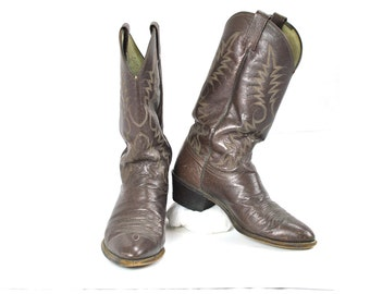 Vintage Cowboy Boots 1980's Dan Post Mens 8E Wide Womens 9 1/2 Wide Euro size 41 Shoes Brown Country Western Rancher