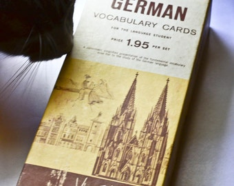 Vintage German Vocabulary Cards by Vis Ed, set of 1000 cards