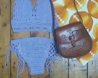 Crochet bikini boho womens clothing lace crop top halter neck tops beach clothes  bohemian summer bralette 70s chic  Dolly Topsy Etsy UK