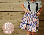 PDF Skirt Pattern Girls Twirl Skirt Pattern Kids Clothes Easy Sewing Pattern Size 7 8 School Clothes Patterns for Beginners DIY Girl Outfit