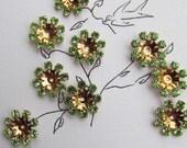 Vintage Swarovski Green Crystal Flowers In Gold Settings