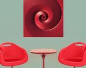 Fractal Art Sticker Decal - Red Spiral by Lyle Hatch