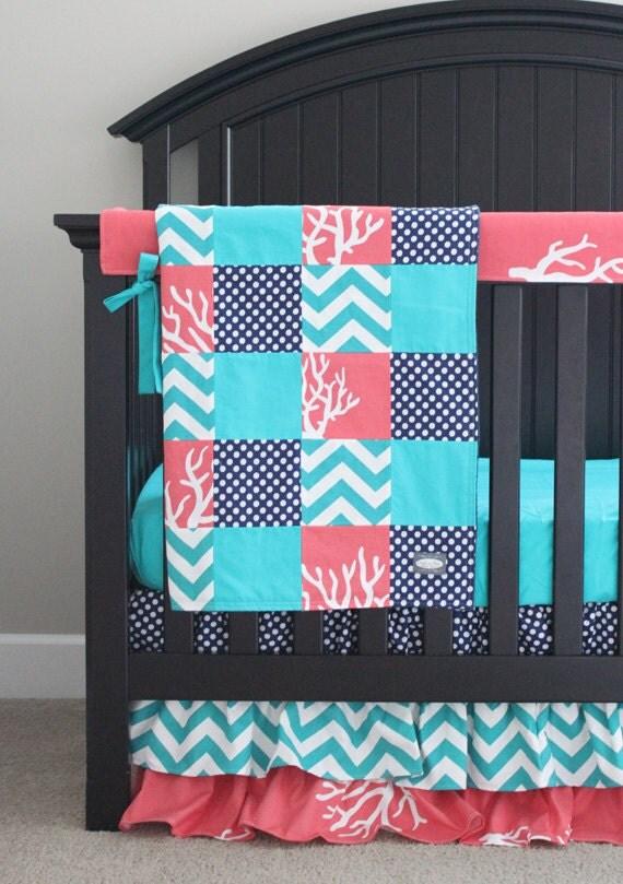 Baby Girl Crib Bedding Set Navy Blue Coral Teal Nursery