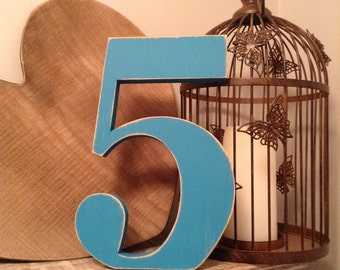 Free-standing Wooden Numbers - Georgian Font - 30cm high - Number 5