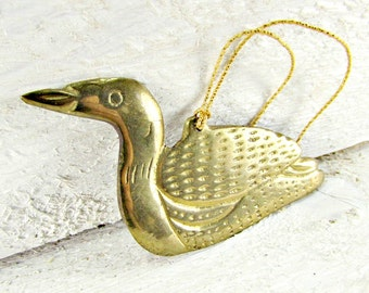 Vintage Brass Duck Ornament, Christmas Tree Ornament Decoration, Rustic Country Farmhouse Home Decor, 1970s Vintage Home Decor, Gift for Dad