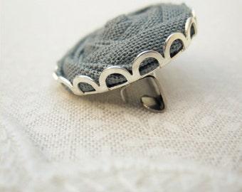 Grey Flower Brooch - Fabric Rose Pin in Concrete, Steel & Stardust