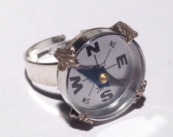 Directionally Determined Ring - Compass, Orienteering, Steampunk - Soldered and Prong Set - Fully Adjustable