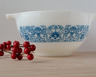 Pyrex Horizon Blue Pattern Small Bowl with Handles 1 1/2 pint