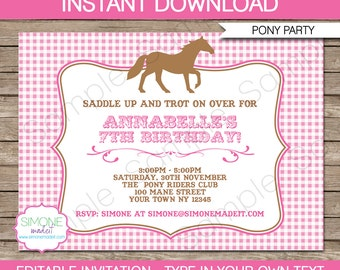 Pony Invitation Template - Horse Invitation - Birthday Party - INSTANT DOWNLOAD with EDITABLE text - you personalize at home