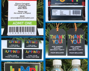 Trampoline Theme Party Invitations & Decorations - full Printable Package - INSTANT DOWNLOAD with EDITABLE text - you personalize at home