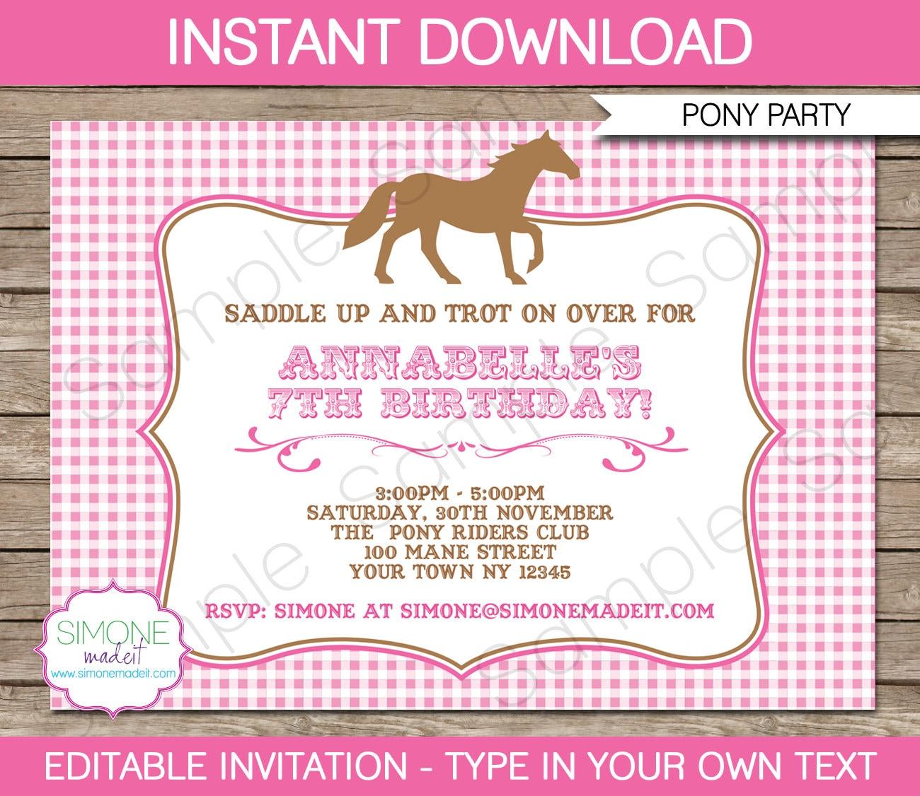 Pony Invitation Template Horse Invitation Birthday Party