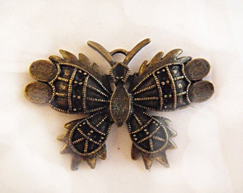 Large Bronze Butterfly Pendant, Lot of 6  Jewelry Making Supplies