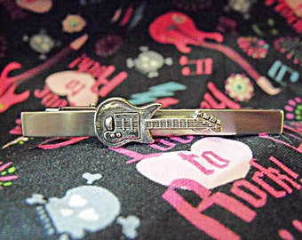 Tie Bar Tie Clip,   Mens Silver Guitar  Wedding Gift  Mens Accessories