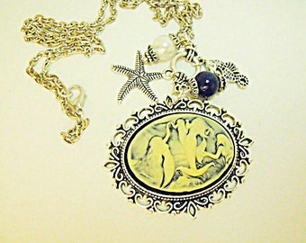 Silver Nautical Mermaid Cameo Necklace With Pearl and Charms Womens Gift  Handmade