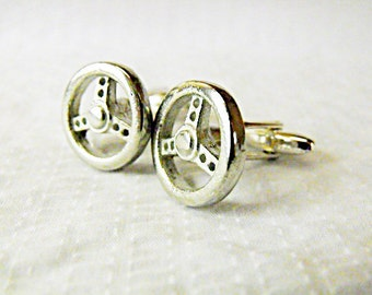 Mens Cufflinks,  Silver Sports Car Steering Wheel Cufflinks Mens Accessories