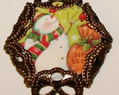 Vintage snowman and birds charm small glass top cabochon image bead diy jewelry
