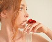 Red poppy flower adjustable ring - Sterling silver, black Swarovski crystal rhinestones