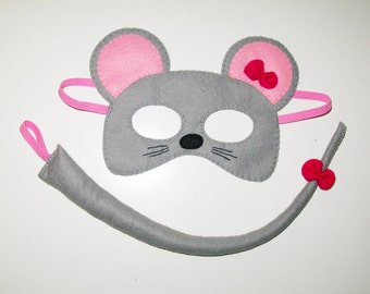 Mouse felt mask and tail set - for kids 2-10 years - Grey Pink bow - handmade mouse costume gift for girl - Dress up play - Theatre roleplay