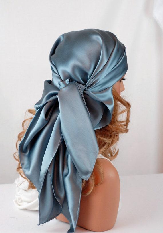 silk hair sleep scarf or day scarf sizes smoky blue charmeuse