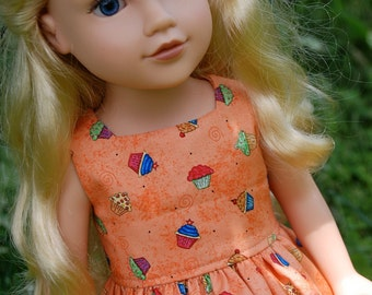 18 Inch American Girl Doll - Sleeveless Cupcake Birthday Dress