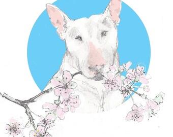 """English Bull Terrier Card """"Little Blossom"""""""