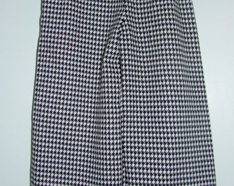 Black/White Houndstooth Pants with Red Cuff